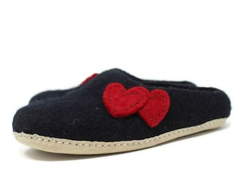 Felted Wool Heart Embellished Women's Black Slippers | Gift for Her | Sheep Wool Slippers | Women's Slippers | Home Shoes | House Shoes