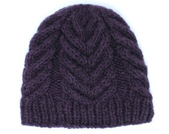 Eco-Friendly Dyed Winter Knitted Wool Beanie Hat | Purple Hat | Winter Beanie | Winter Hat | Knitted Beanie | Knitted Hat | Fleece Lined Hat
