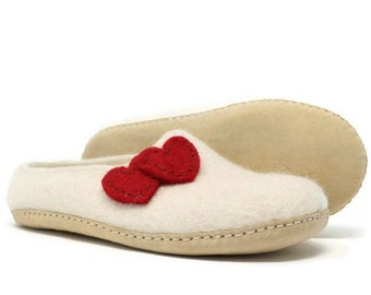 Felted Wool Heart Embellished White Women's Slippers | Wool Shoes | Sheep Wool Slippers | Women's Slippers | Home Shoes | House Shoes