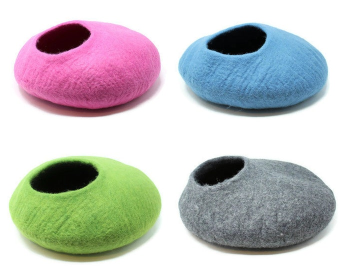 Felted Wool Pet Bed | Cat Bed | Cat Cuddler | Wool Pet Cave | Pet Furniture | Wool Pet Bed | Dog Lover | Cat Lover