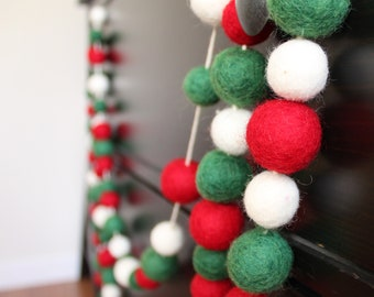 4 Foot Felt Wool Christmas Garland 100 Felted Balls Christmas Tree Ornaments - Handmade from 100% Wool - Fair Trade Certified™