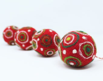 Felt Wool Red Balls - Pack of 4 Christmas Tree Ornaments - Handmade from Eco-friendly dyes and 100% Wool - Fair Trade Certified™