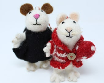 Felt Wool Christmas Ornament Mice Set of 2 - Animal Felt Christmas Tree Kit - Eco-friendly and Fair Trade Certified Collection