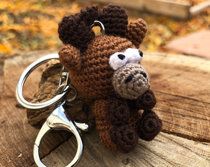 Crochet Brown Reindeer Keychain - Amigurumi Brown Reindeer Gift - Good Luck Charm, and Travelling companion