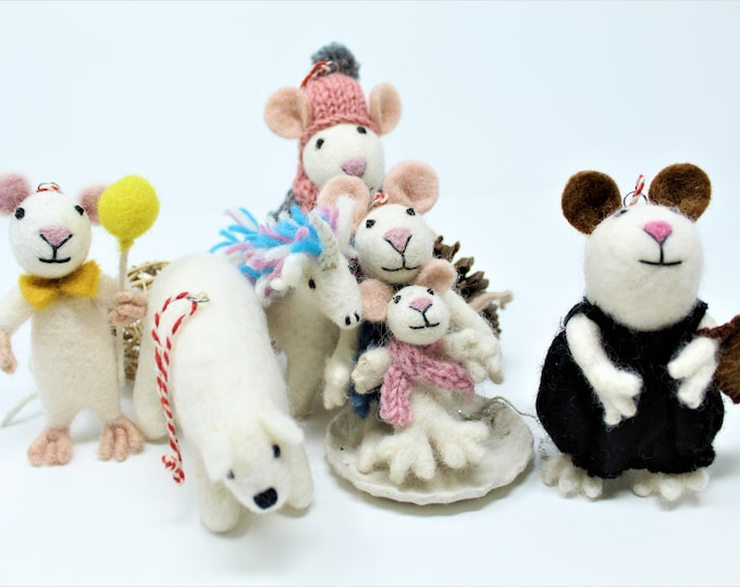 Wool Christmas Ornaments | Mice Ornaments | Wool Ornaments | Animals and Tree Decorations (6pcs)