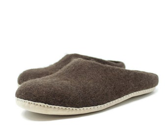 Men's Felted Wool Moccasin Brown Slippers | Felted Wool Shoes | Sheep Wool Slippers | Men's Slippers | Home Shoes | Adult Slippers