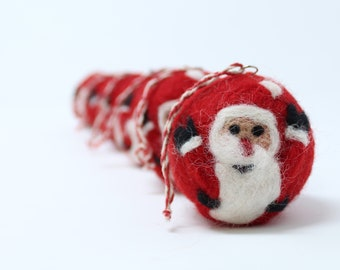 Felt Wool Santa Red Balls - Set of 6 Christmas Tree Ornaments - Handmade from Eco-friendly dyes and 100% Wool - Fair Trade Certified™