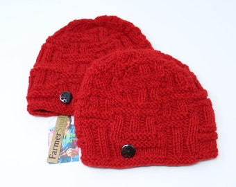 Eco-Friendly Dyed Winter Knitted Wool Beanie Hat | Red Hat | Winter Beanie | Winter Hat | Knitted Beanie | Knitted Hat | Fleece Lined Hat