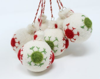 Felt Wool White Balls -Set of 6 Christmas Tree Ornaments - Handmade from Eco-friendly dyes and 100% Wool - Fair Trade Certified™