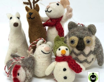 Felt Wool Christmas Ornament - Handmade Classic Animal Felt Christmas Tree Kit - Eco-friendly and Fair Trade Certified Collection (7pcs)