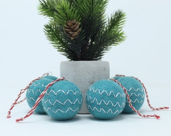 Felted Wool Turquoise Balls Pack of 6 - Christmas Tree Ornaments - Handmade from Eco-friendly dyes and 100% Wool - Fair Trade Certified™