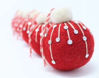 Felt Wool Red Balls Frost - Pack of 6 Christmas Tree Ornaments - Handmade from Eco-friendly dyes and 100% Wool - Fair Trade Certified™