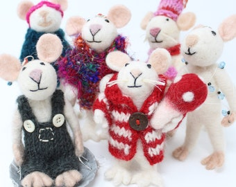 6 Piece Set of Wool Christmas Mice Ornaments | Mice Ornaments | Cute Christmas Ornaments | Wool Ornaments