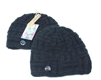 Eco-Friendly Dye Winter Knitted Wool Beanie Hat | Black Hat | Winter Beanie | Winter Hat | Knitted Beanie | Knitted Hat | Fleece Lined Hat
