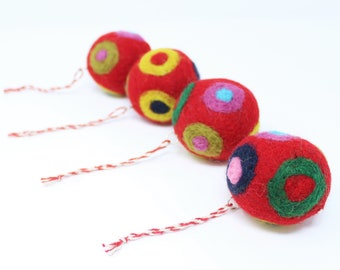 Felted Wool Balls - Red Set of 4 Christmas Ball Ornaments - Handmade from Eco-friendly dyes and 100% Wool - Fair Trade Certified™