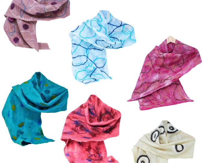 Women's Merino Wool Felted Silk Scarf
