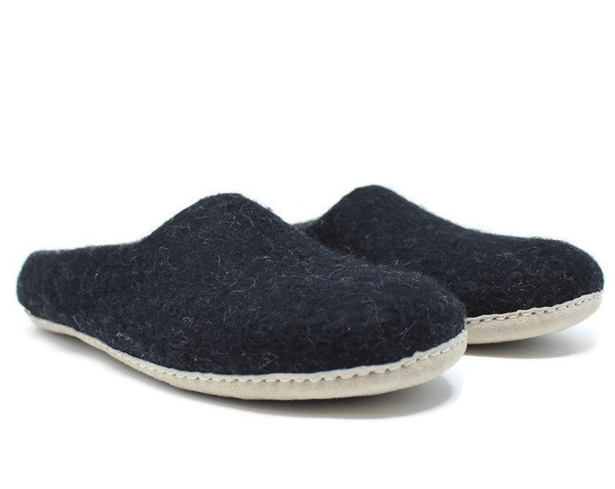 Men's Felted Wool Moccasin Black Slippers | Gifts For Him  | Sheep Wool Slippers | Men's Slippers | Home Shoes | Adult Slippers