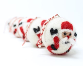 Felt Wool White Santa Balls - Pack of 6 Christmas Tree Ornaments - Handmade from Eco-friendly dyes -100% Wool - Fair Trade Certified™ Gifts