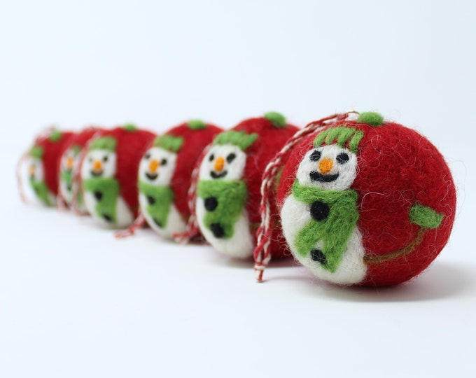 Felt Wool Red Snowman Balls - Pack of 6 Christmas Tree Ornaments - Handmade from Eco-friendly dyes -100% Wool - Fair Trade Certified™ Gifts