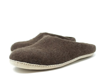 Best Gift For Men | Mens Winter Felted Wool Slippers in Brown | Felted Slippers | House Slippers | Wool Shoes | Home Shoes