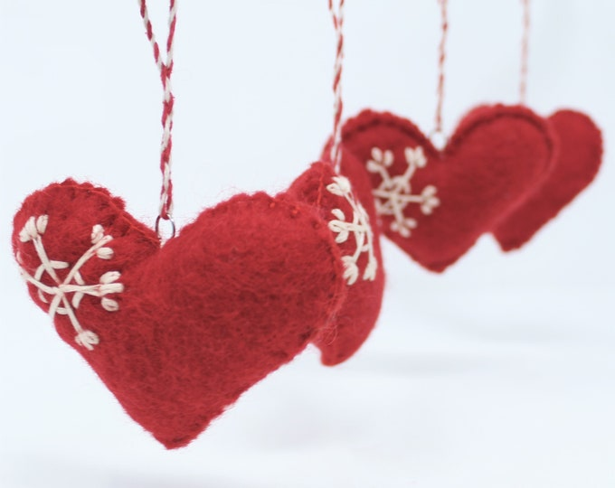 Set of 6 Christmas Ornaments - Wool Felt Ornaments Red Hearts - Handmade from Eco-friendly dyes and 100% Wool - Felt Wool Ornaments
