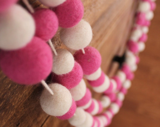 4 Foot Felt Wool Pink & White Garland 100 Felted Balls Party and Birthday Ornaments - Handmade from 100% Wool - Fair Trade Certified™