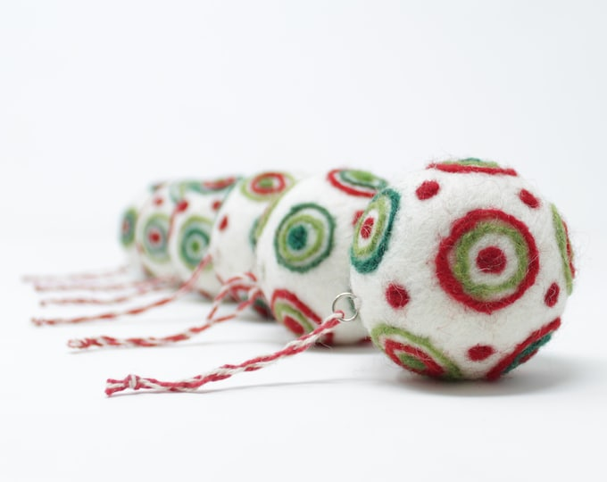 Felt Wool White Balls - Felted Christmas Tree Ornaments - Handmade from Eco-friendly dyes and 100% Wool - Fair Trade Certified™ Set of 6
