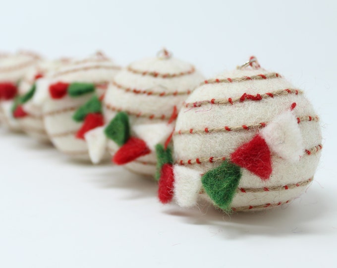 Felt Wool Balls Flags- Pack of 6 Christmas Tree Ornaments - Handmade from Eco-friendly dyes -100% Wool - Fair Trade Certified™ Gifts