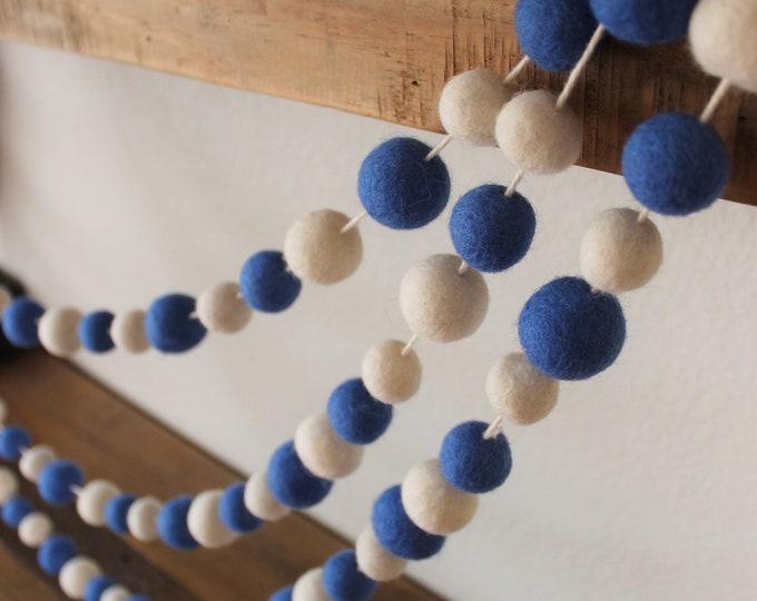 4 Foot Hanukkah Felt Wool Blue & White Hanukkah Decoration Garland 100 Felted Balls Party and Birthday Ornaments - Handmade from 100% Wool