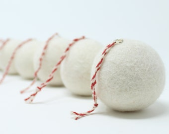 Felt Wool White Balls - Pack of 6 Christmas Tree Ornaments - Handmade from Eco-friendly dyes -100% Wool - Fair Trade Certified™ Gifts