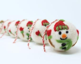 Felt Wool Christmas Tree Ornaments - Felt Wool Christmas Balls - Set of 6 - Eco-friendly 100% Wool - Fair Trade Certified™