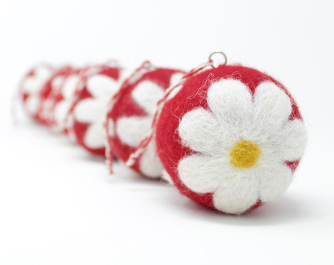 Felt Wool Red Daisy Balls - Pack of 6 Christmas Tree Ornaments - Handmade from Eco-friendly dyes -100% Wool - Fair Trade Certified™ Gifts