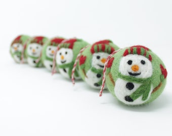 Felt Wool Green Snowman Balls - Pack of 6 Christmas Tree Ornaments - Handmade from Eco-friendly dyes -100% Wool - Fair Trade Certified™