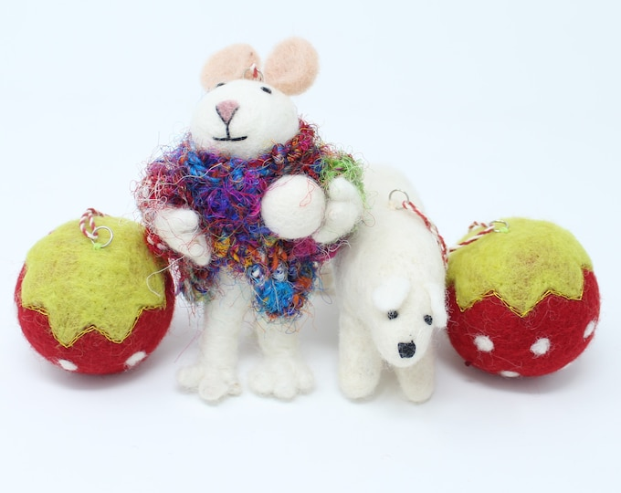 Felt Wool Mouse and Bear Ornament - Handmade Classic Animal Felt Christmas Tree Kit - Eco-friendly and Fair Trade Certified Collection