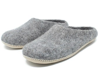 Men's Felted Wool Moccasin Slippers | Felted Wool Shoes | Sheep Wool Slippers | Men's Slippers | Home Shoes | Adult Slippers