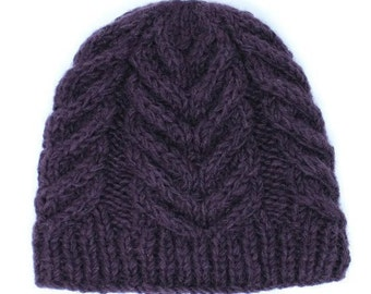 Wool Knitted Winter Beanie Hat   Gift for Her   Beanie   Fleece Lined Hat   Purple Hat
