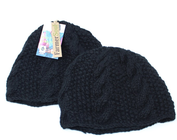 Gift for Her Hand Knit Hat | Womens Knitted Hats for Winter with Natural Wool and Fleece Lining | Black Hat |