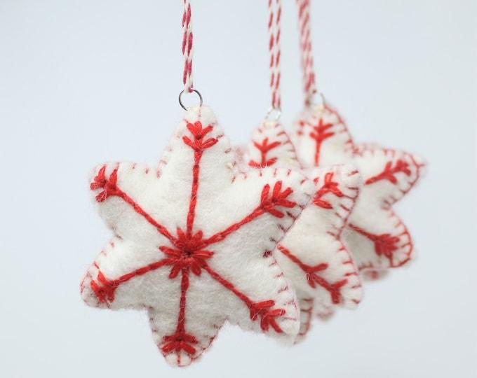 Felt Ornaments, Red Snowflakes - Set of 6 Christmas Ornaments - Felt Wool Ornaments Collection - Felt Christmas Tree Ornaments