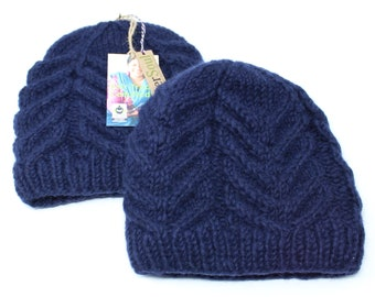 Knit Winter Hat | Hand Knitted Beanie | Blue Hats | Warm Winter Beanie | Winter Hat | Knitted Beanie | Hat | Fleece Lined