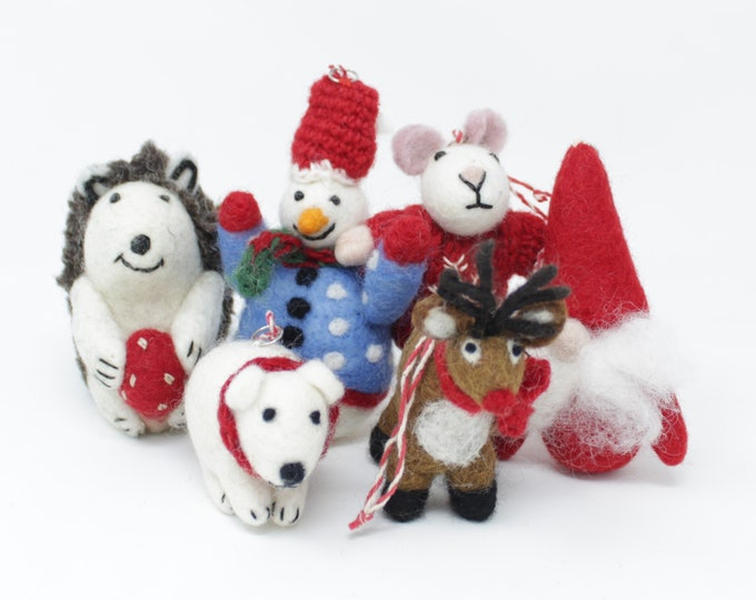 Felt Wool Christmas Ornaments - Handmade Classic Animal Felt Christmas Tree Kit - Eco-friendly and Fair Trade Certified Collection (6pcs)