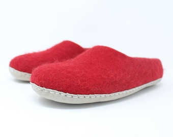 Men's Felted Wool Moccasin Red Slippers | Felted Wool Shoes | Sheep Wool Slippers | Men's Slippers | Home Shoes | Adult Slippers