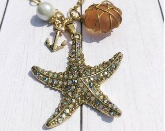 Starfish Pendant Charm Necklace | Gold Tone | Seaside Necklace | Sea Glass Pendant & Charm Necklace