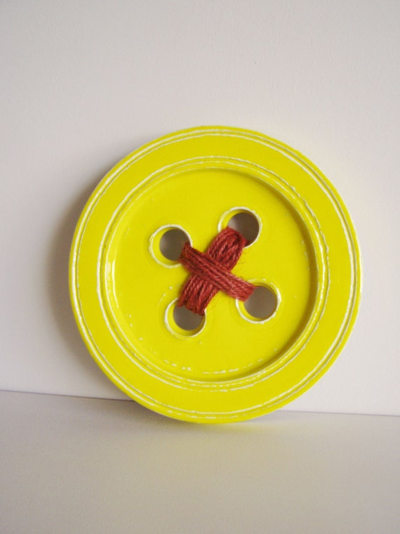 stoneware clay large button wall decor yellow ceramic button wall hanging with burnt orange yarn Yellow ceramic button