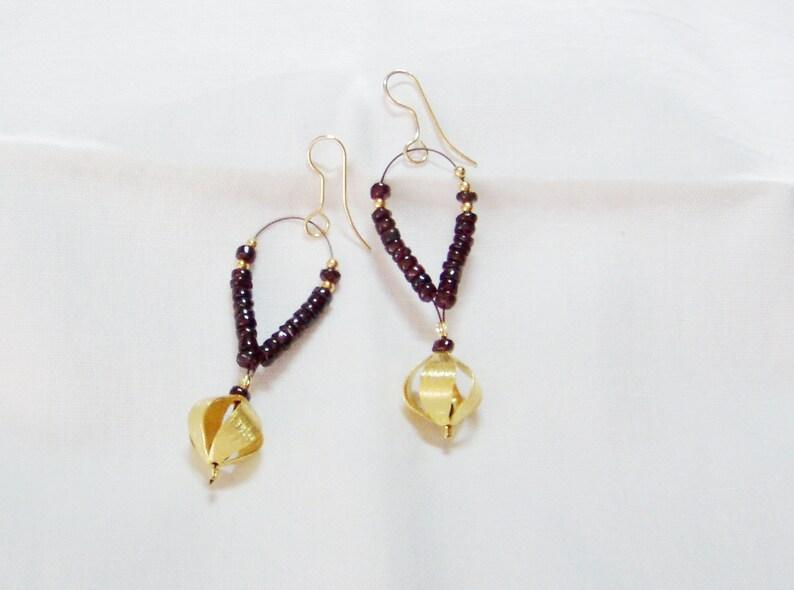 dangly gold plated garnet earrings sterling silver Garnet dangle earrings drop earrings garnet gem stones burgundy statement earrings