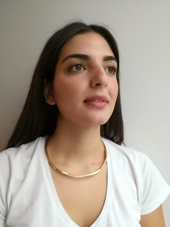 Gold choker necklace, brass gold plated thick chok