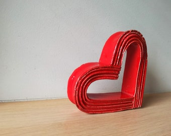 Red heart sculpture, bright red, ceramic heart outline sculpture, stands on the side, modern heart  art object, ceramic red heart gift