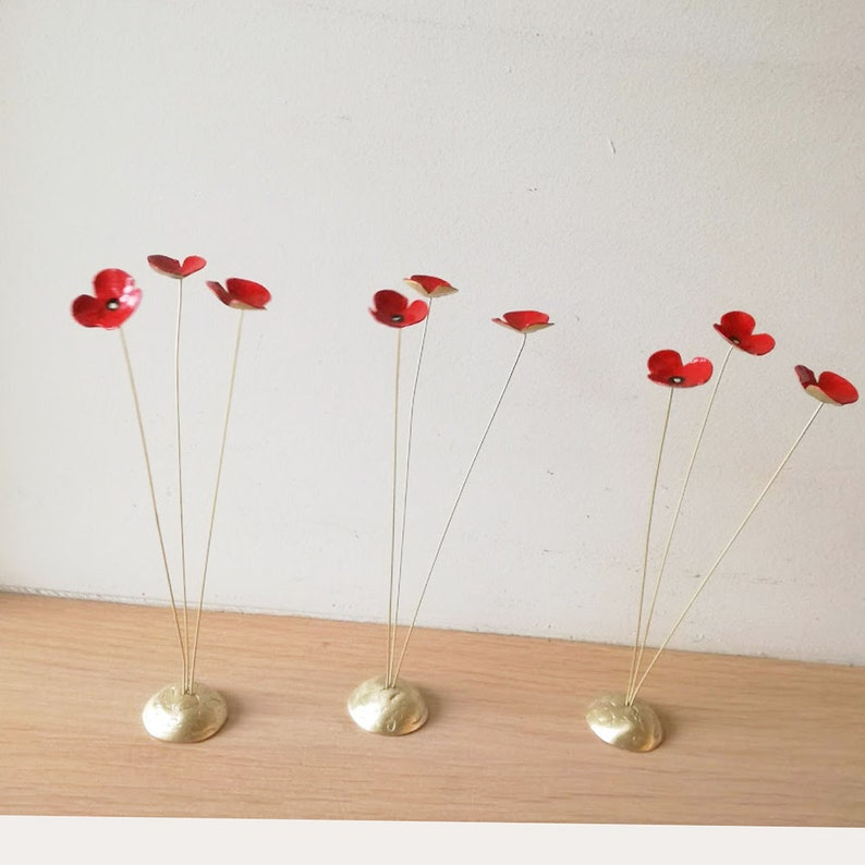 Red poppies metal sculpture scarlet poppies art flower decor three poppies gold red sculpture brass flowers art object with red enamel