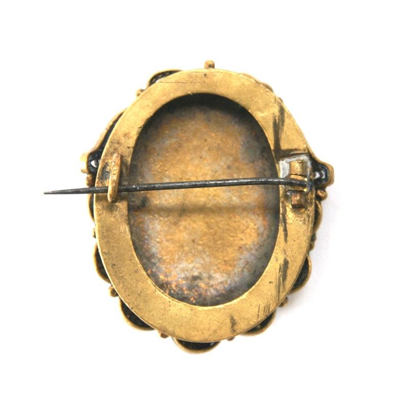 Gold Plate Blue Victorian Filigree Brooch