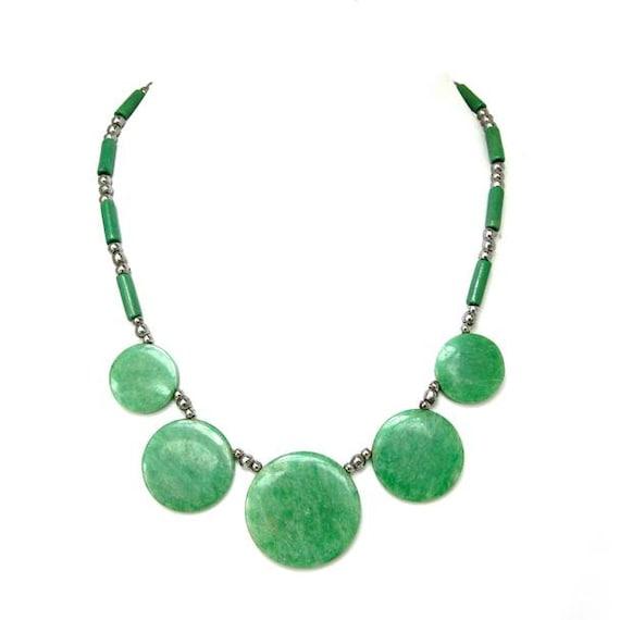 Green Bakelite Necklace, 1930s