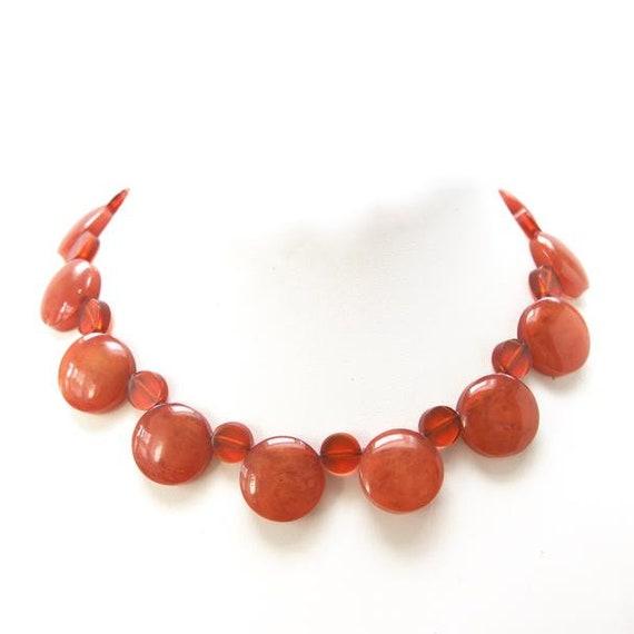 1940s Bakelite Necklace, Orange